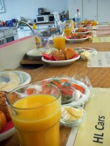 Frühstück für die Probanden